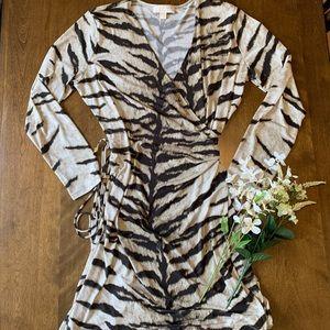 MICHAEL KORS TIGER PRINT WRAP DRESS
